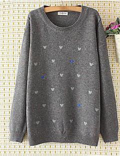 Normal Pullover Femme Sortie simple,Imprimé Multi-couleur Col Arrondi Manches Longues Polyester Automne Moyen Micro-élastique