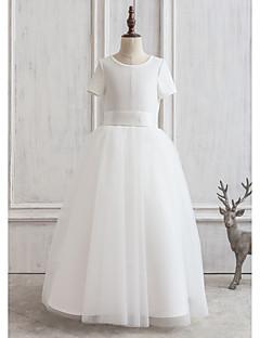 Princesse Longueur Cheville Robe de Demoiselle d'Honneur Fille - Satin / Tulle Manches Courtes Bijoux avec Ceinture / Ruban