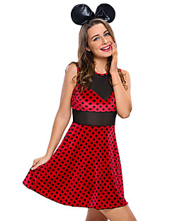 Cosplay Costumes Party Costume Career Costumes Bunny Girls Festival/Holiday Halloween Costumes Wine Red Polka Dot Dress HeadwearHalloween