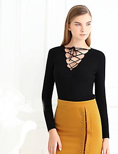 Dame Sexet Casual/hverdag Normal Pullover Ensfarvet,Sort V-hals Langærmet Bomuld Forår Medium Mikroelastisk