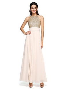 2017 Lanting Bride® Floor-length Chiffon / Sequined Sparkle & Shine Bridesmaid Dress - A-line Jewel with Ruching