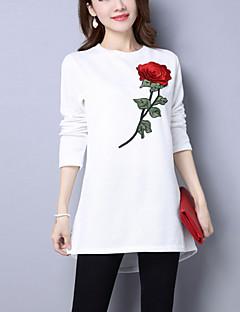 Longue Pullover Femme Décontracté / Quotidien Chic de Rue,Broderie Blanc Noir Col Arrondi Manches Longues Coton Automne Hiver Moyen