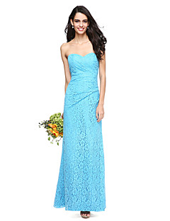 2017 Lanting andar de comprimento bride® rendas abrir volta vestido de dama de honra - Bainha / coluna com pregas