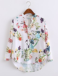 Women's Going out Casual/Daily Simple Street chic All Seasons Shirt,Floral Crew Neck Long Sleeve Cotton Polyester Medium
