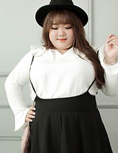 Feminino Camiseta Casual / Tamanhos Grandes Simples Outono,Sólido Branco Poliéster Decote Princesa Manga Longa