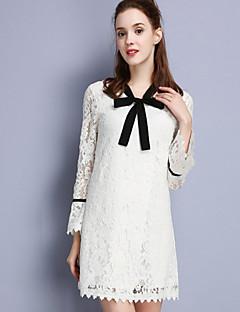 Damen Spitze Kleid-Lässig/Alltäglich Einfach Solide V-Ausschnitt Übers Knie Langarm Weiß Baumwolle Polyester Nylon HerbstMittlere