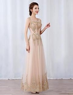 프롬 / 포멀 이브닝 드레스 볼 드레스 스쿱 바닥 길이 튤 와 아플리케 / 비즈 / 스팽글