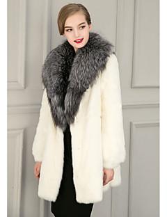 Women's Casual/Daily Street chic Fur Coat,Solid Shirt Collar Long Sleeve Winter White Black Faux Fur Medium