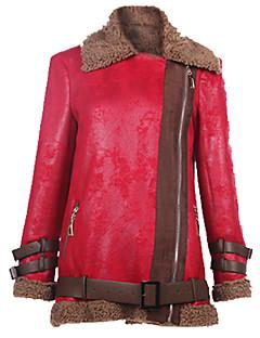 Krave Langærmet Medium Dame Rød Grøn Ensfarvet Vinter Street Casual/hverdag Jakke,Imiteret pels Polyester