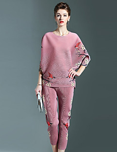 Women's Casual/Daily Vintage Fall Set Pant Suits,Floral Round Neck Long Sleeve Blue Pink Gray Polyester