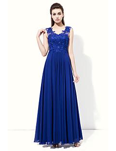 Floor-length Chiffon Beautiful Back / Elegant Bridesmaid Dress - A-line V-neck with Appliques