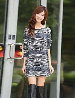 Women's Casual/Daily Shift Dress,Print Round Neck Above Knee Long Sleeve Gray Cotton Fall