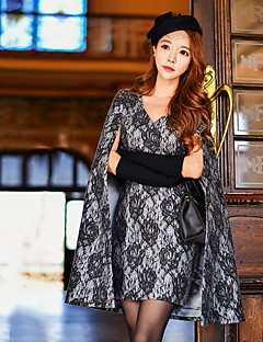 Women's Going out / Formal / Party/Cocktail Sexy / Vintage / Sophisticated Shift / Sheath / Flapper Cloak / Cape DressColor Block / Patchwork V Neck