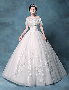 Princess Wedding Dress Vintage Inspired Floor-length Jewel Lace Organza Tulle Sequined with Appliques Lace Sequin