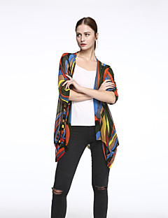 Women's Casual/Daily Plus Size / Street chic Summer Shirt,Print Cowl ½ Length Sleeve Blue / Red / Green / Yellow Polyester Medium