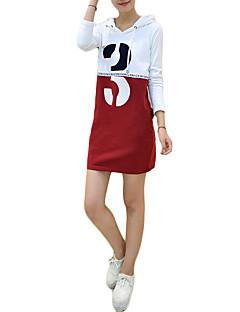 סתיו / חורף כותנה אדום שרוול ארוך מעל הברך עם קפוצ'ון אותיות פשוטה יום יומי\קז'ואל שמלה נדן נשים,גיזרה גבוהה מיקרו-אלסטי דק