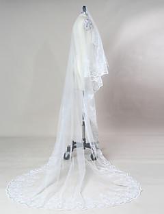 웨딩 면사포 한층 채플 베일 성당 베일 레이스처리된 가장자리 가리비모양 가장자리 명주그물 레이스
