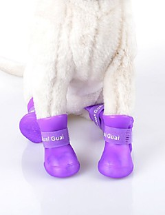 Cat / Dog Shoes & Boots Waterproof Winter / Summer / Spring/Fall Solid Green / Blue / Purple / Black / Rose PU Leather