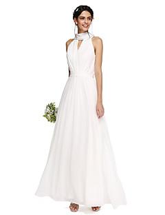 2017 Lanting Bride® Floor-length Chiffon Elegant Bridesmaid Dress - A-line High Neck with Draping