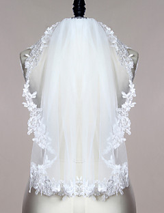 Wedding Veil One-tier Fingertip Veils Lace Applique Edge Scalloped Edge Tulle Lace