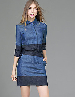 3/4 ærmelængde Krave Medium Dame Blå Ensfarvet Efterår Street Casual/hverdag Sæt Skjørte Suits,Bomuld Polyester