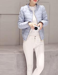 Damen Gefüttert Mantel,Kurz Einfach Übergröße Solide-Polyester Baumwolle Langarm Blau / Rosa / Weiß / Schwarz / Grün Rundhalsausschnitt