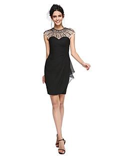 TS Couture® Coquetel Vestido - Vestidinho Preto Tubinho Decorado com Bijuteria Curto/Mini Chiffon com Miçangas / Franzido / Pregas