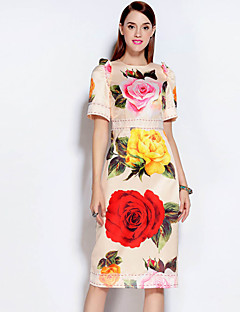 Mary Yan & Yu Women's Casual/Daily Vintage Sheath DressFloral Round Neck Midi Short Sleeve Beige Cotton / Polyester Fall Mid Rise Inelastic Medium