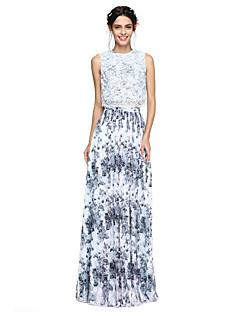 2017 Lanting andar de comprimento bride® chiffon / laço duas peças vestido de dama de honra - uma linha de jóias com pregas