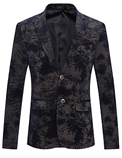Men's Plus Size / Going out / Party/Cocktail Vintage / Street chic / Chinoiserie All Seasons Blazer,Geometric V Neck Long Sleeve Black