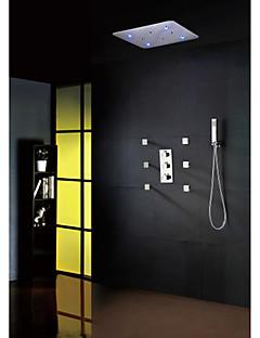 シャワー水栓 - 現代風 - LED / サーモスタットタイプ / レインシャワー / Widespary / ハンドシャワーは含まれている - 真鍮 (クロム)