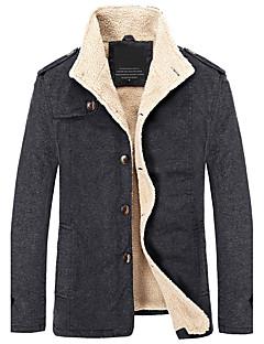 Herren Solide Retro Einfach Ausgehen Lässig/Alltäglich Übergröße Jacke,Frühling Herbst Ständer Langarm Beige Schwarz Grün DickBaumwolle