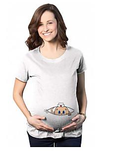 Eenvoudig Lente Zomer T-shirt,Casual/Dagelijks Effen Ronde hals Korte mouw Katoen Medium