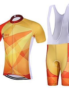 ספורטיבי חולצת ג'רסי ומכנס קצר ביב לרכיבה לגברים שרוול קצר אופניים נושם ייבוש מהיר עיצוב אנטומי רוכסן קדמי 3D לוח כיס אחורי תומך זיעהמדים