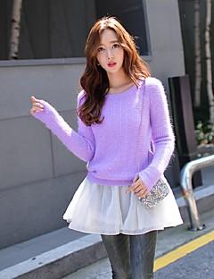 Damen Standard Pullover-Ausgehen Lässig/Alltäglich Urlaub Niedlich Street Schick Anspruchsvoll Solide Lila Rundhalsausschnitt Langarm