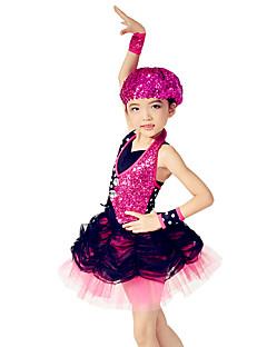 Jazz Robes Enfant Spectacle Nylon Elasthanne Polyester Paillété Tulle LycraJupe ample & ornée Plissé Robe pan volant Pois Fantaisie Bloc