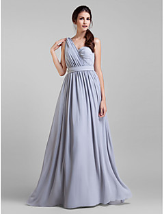A-Line V-neck Floor Length Georgette Bridesmaid Dress with Sash / Ribbon Criss Cross Crystal Brooch by LAN TING BRIDE®