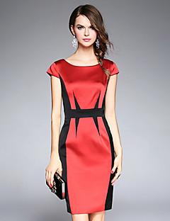 Damen Hülle Kleid-Formal Party/Cocktail Anspruchsvoll Geometrisch Rundhalsausschnitt Übers Knie Kurzarm Nylon Elasthan Andere Herbst
