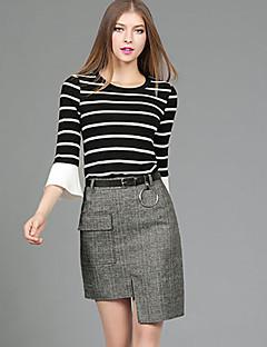 Damen Gestreift Einfach Lässig/Alltäglich Set Rock Anzüge,Rundhalsausschnitt Herbst ¾-Arm Grau Baumwolle Polyester Mittel