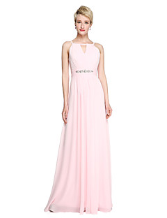 2017 Lanting Bride® Floor-length Chiffon Open Back Elegant Bridesmaid Dress - Sheath / Column Spaghetti Straps with Beading Ruching Pleats