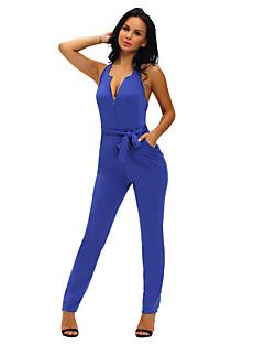 Women's Halter V Neck Zipped Front Jumpsuit