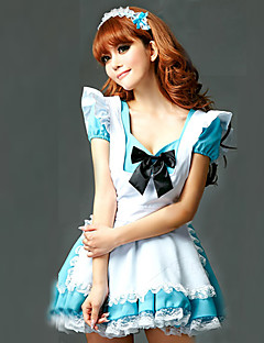 Cosplay Costumes Party Costume Maid Costumes Career Costumes Festival/Holiday Halloween Costumes White Sky Blue PatchworkDress Headpiece