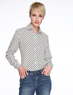 Mulheres Camisa Casual Simples Primavera / Verão / Outono,Poá Branco / Preto Colarinho de Camisa Manga Longa Fina