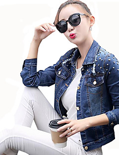 Women's Plus Size / Casual/Daily Street chic / Punk & Gothic Hole Denim Jackets Solid Shirt Collar Long Sleeve