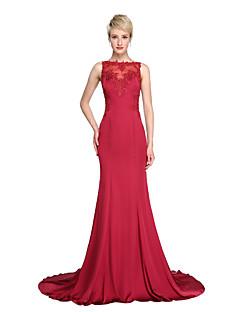 TS Couture® Evento Formal Vestido - Transparente Sereia Canoa Cauda Corte Chiffon Acetinado com Apliques Botões