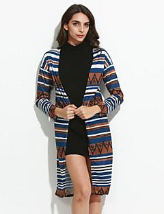 Langærmet Asymetrisk Medium Blå Patchwork Alle årstider Vintage Cloak / Capes,Polyester