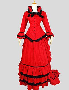 Outfits Gothic Lolita Victorian Cosplay Lolita Dress Solid Long Sleeve Asymmetrical Top Skirt For Cotton