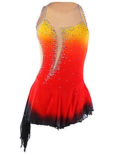 アイススケートウェア 女性用 ノースリーブ スケーティング スカート&ドレス フィギュアスケートのドレス ビデオ圧縮 スパンコール スパンデックス / エラステイン レッド スケートウェア ファッション スポーツ