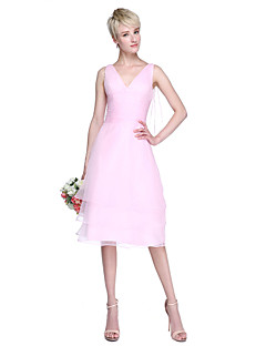 2017 Lanting Bride® Knee-length Organza Elegant Bridesmaid Dress - A-line V-neck with Side Draping / Ruching / Tassel(s)