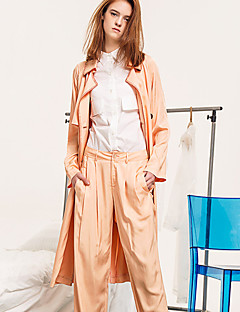 Damen Solide Street Schick Lässig/Alltäglich Trenchcoat,Winter Hemdkragen Langarm Beige Polyester